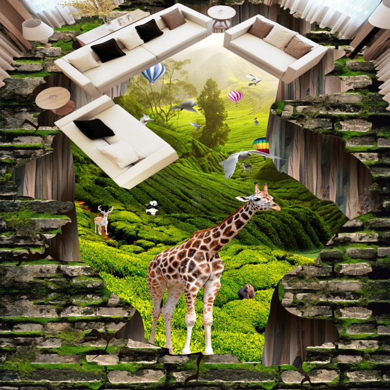 Free Shipping 3D Animal World Landscape outdoor flooring self-adhesive home decoration living room bedroom wallpaper mural free shipping marble texture parquet flooring 3d floor home decoration self adhesive mural baby room bedroom wallpaper mural