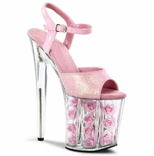 European and American stage 20CM crystal shoe, transparent ribs super thick roses decorated waterproof platform sandals