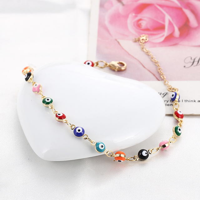 Bohemian Colorful Turkish Eyes Anklets for Women Gold Color Beads Summer Ocean Beach Bracelet 5
