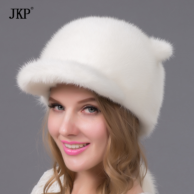 Real natural mink fur hats for winter women fur cap new fashion Orecchiette Mink fur cap Russia good quality elegant hat women s winter hat new real mink fur pom fluffy ball hat cap fox fur ball mink fur fashion russian cap hat for women dhy17 20