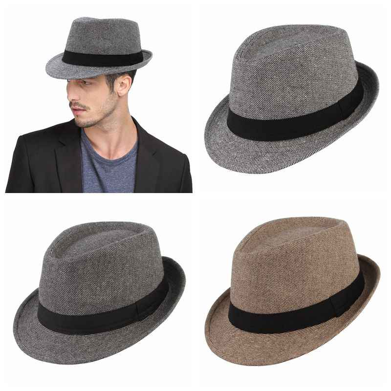 4f2a844005a ... GEMVIE Classical British Style Jazz Cap For Men Gentleman Fedora  Stripes Curved Brim Top Hat Denim ...