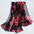 Новое прибытие 180*90 см Высокое качество Печати цветы Стиль Тонкий Раздел Шелковые Нити Женщины Шарф Шаль BLS022