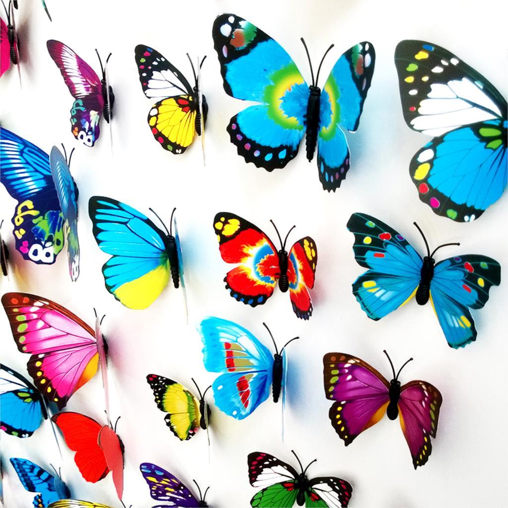 12pcs/Lot 3D Butterflies Wall Sticker PVC Magnet Home Decorative Wall Sticker Butterfly Refrigerator Wallpaper Decals