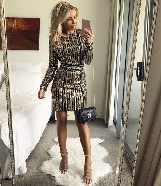 High quality 2017 new summer women s dress wholesale gold and black long  sleeve sequined dress dropshipping eb672efabd9c