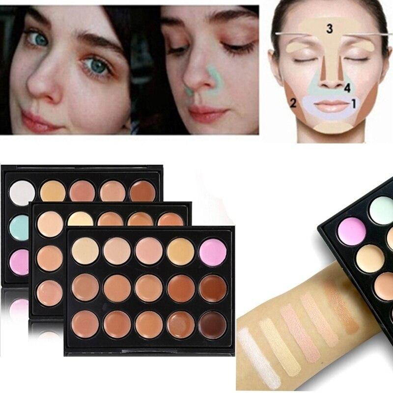Popfeel Makeup Foundation Palettes Concealer Face-Cream Natural-Lasting TSLM1 15-Colors/Set