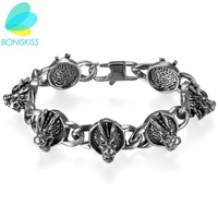 Boniskiss Punk Dragon Charm Bracelets 316L Stainless Steel Bracelet Antique Silver Bangle Jewelry For Men Hallowmas Gifts