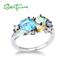 SANTUZZA Silver Ring For Women 925 Sterling Silver Shiny Multi Color Gem Stones for Women Elegant Party Fashion Jewelry