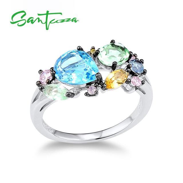 Santuza серебряное кольцо для женщин из стерлингового серебра 925 пробы блестящие разноцветные Поделочные камни для женщин элегантные вечерние...