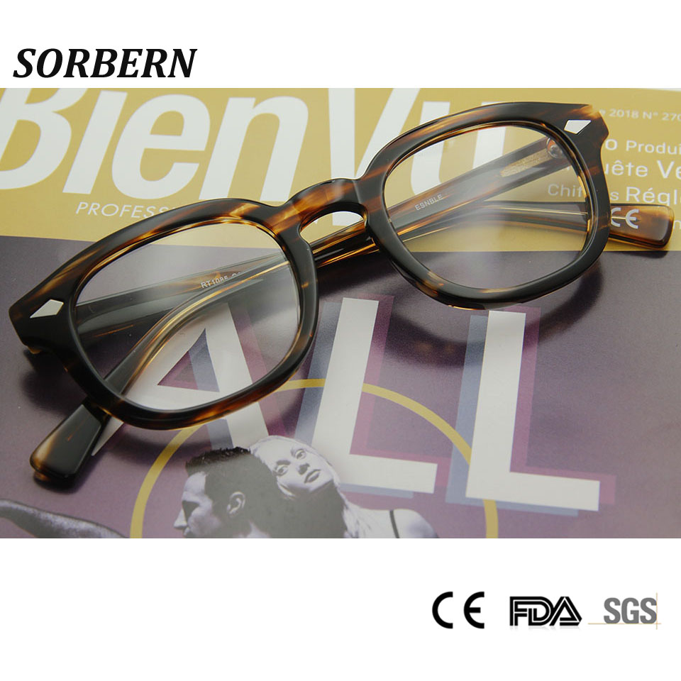 SORBERN Acetate Retro Optical Glasses Frame Men Vintage Eyewear Frames Round Glasses Clear Glasses Women Oculos De Grau Feminino