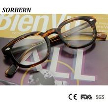 SORBERN Acetate Retro Optical Glasses Frame Men Vintage Eyewear Frames Round Clear Women Oculos De Grau Feminino