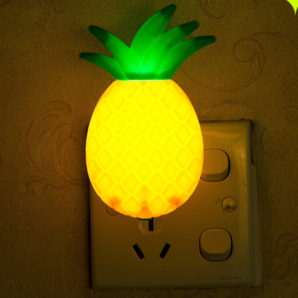LED Night Light US Adapter 110v-220V Lamp Switch Pineapple Fruit Cartoon Series Night 3D Lights Print Moon Lamp Creative Gift