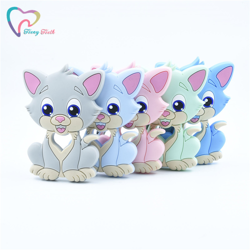 1 PC Cute Cat Silicone Teethers Food Grade Cartoon Baby Teething Cat Toys DIY Pacifier Chain Necklaces For Children Products
