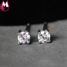 hot deal buy 925 sterling silver earrings for women geometric zircom stud earrings with stone crystal cz fine jewelry accessories gift ye50