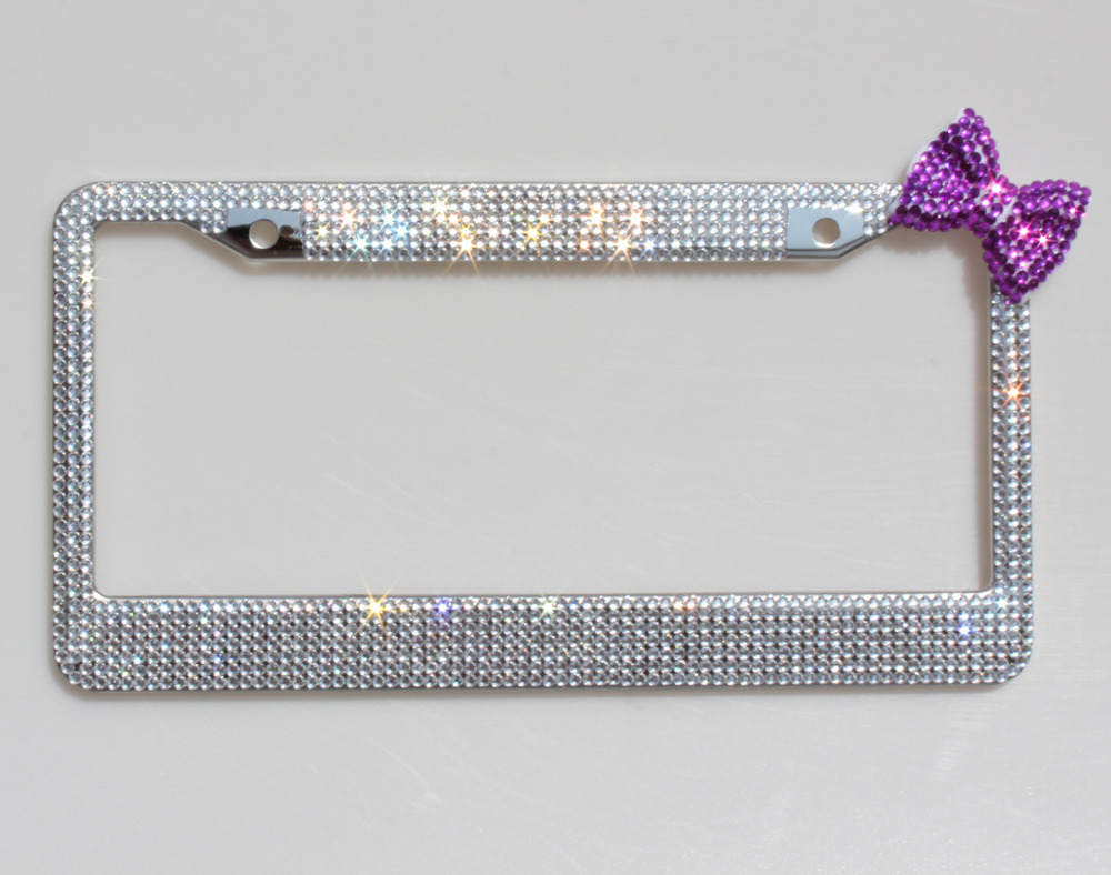 2 Pack of Bling Sparkle License Plate Frame Purple Bowknot Gift For ...