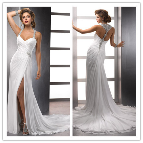 Sexy Crystal Beaded Halter Racer Back Chiffon Destination Wedding Dresses With Front Slit Bridal Gowns Elegant