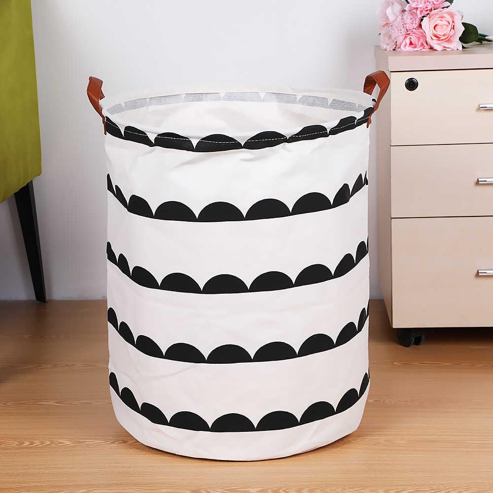 1pc dobrável cesta de lavanderia com alça de armazenamento redondo bin grande cesto dobrável roupas brinquedo lavanderia titular organizador 40x50cm
