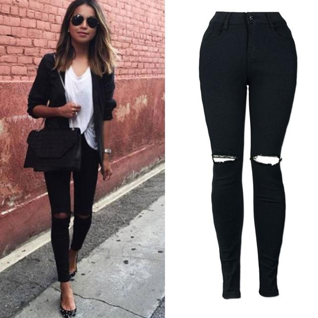 women casual pants Slim Solid Pencil Trousers Cool Ripped Knee Cut Skinny Long   Jeans   Pants Z402
