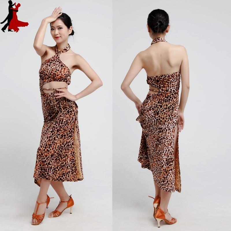 new sexy fashion Leopard backside Latin practice dress performance clothing women freeshipping hot sale
