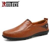 REETENE Genuine Leather Driving Shoes Men Fashion Men'S Moccasin Shoes Men Flats Comfortable Italian Loafers Men Casual Shoes