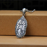Real 925 Sterling Silver Necklace Meteorite Shaped Pendant Retro Personality Man and Woman Vintage Fine Jewelry