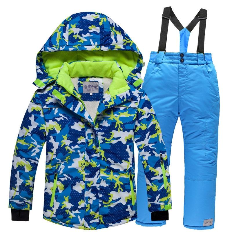 2018 Children Kids school boy girl 5 6 8 10 ski Snow suits jacket+overall 3e27ab049