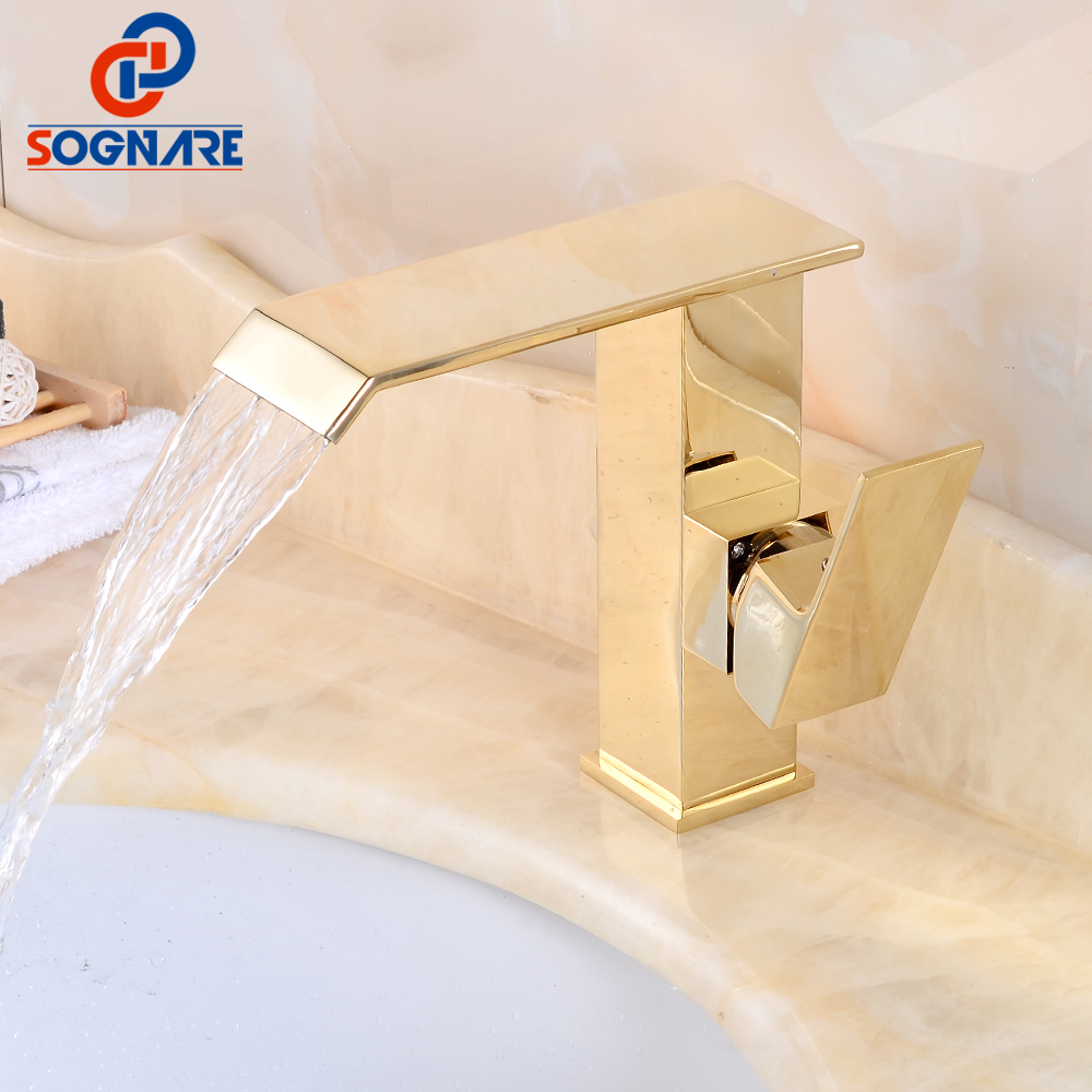 SOGNARE Waterfall Bathroom Basin Faucet Golden Water Mixer Hot And Cold Water Mixer Water Tap Square Tap Sink Toilet Basin Mixer hpb 2017 innovate upper spray design basin mixer faucet bathroom sink tap hot and cold water square style single handle