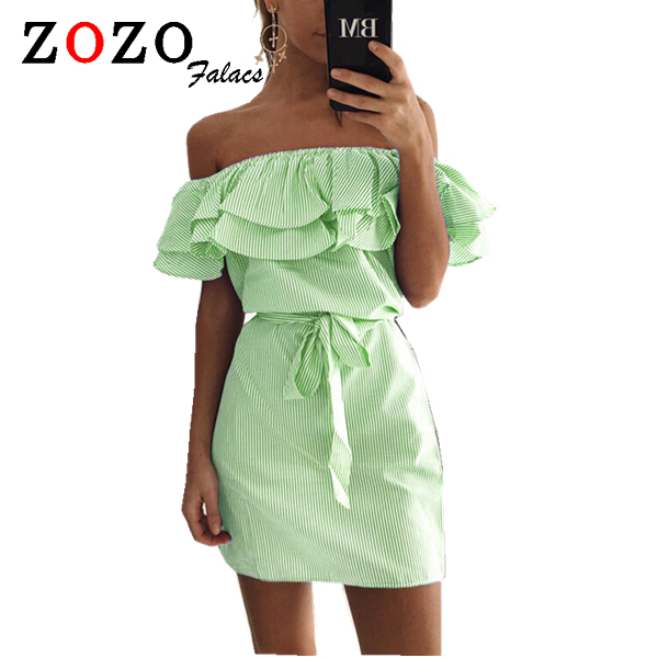 Falacs Zozo Summer Women Casual Sexy Fashion Dresses Straight Striped Ruffles Mini Butterfly Sleeve Slash Neck