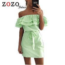 Falacs Zozo Summer Women Casual Sexy Fashion Dresses Straight Striped Ruffles Mini Butterfly Sleeve Slash Neck Dress Vestidos