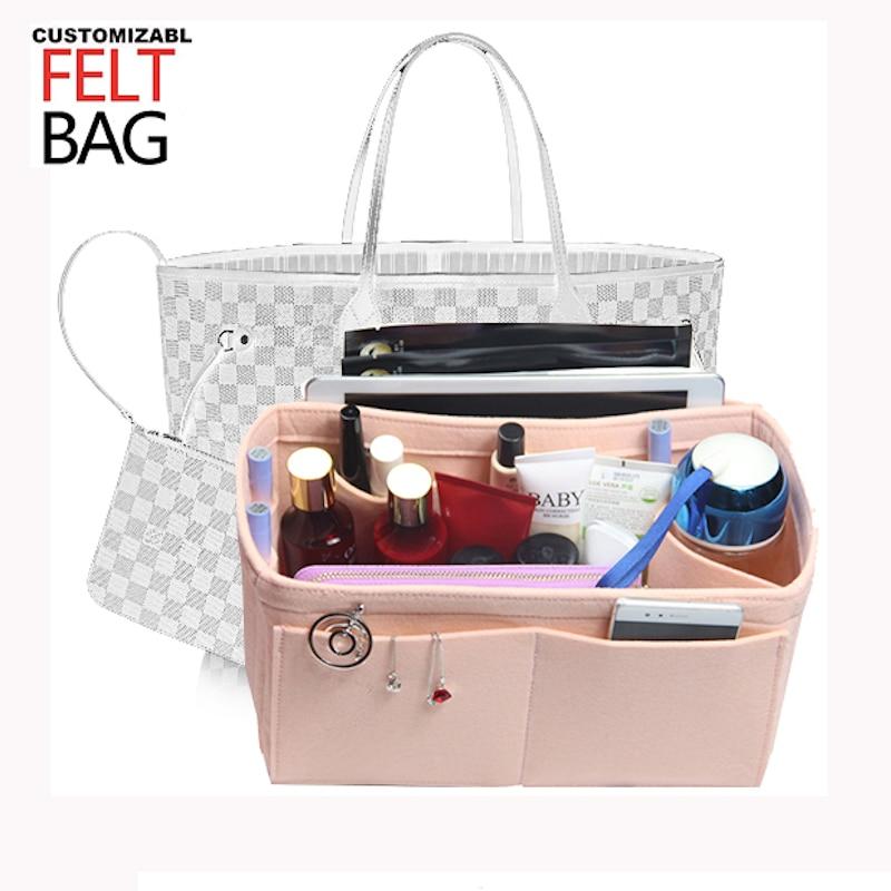 Customizable Felt Tote Organizer Bag W/Milk Water Bottle Holder)Neverfull MM GM PM Speedy 30 25 35 40 Purse Organizer Insert Bag