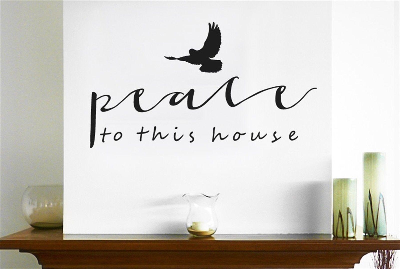ღ ღhwhd peace to this house with flying bird wall stickers art