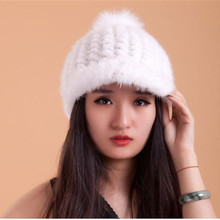 Wanita Nyata Mink Bulu Bulu Rajutan Asli Bulu Musim Dingin Hangat Topi Visor  Wanita Musim Dingin b098f7274c