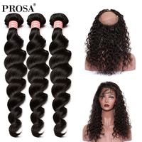Pre Plucked 360 Lace Frontal Closure With Bundle 3 Loose Wave Brazilian Virgin Human Hair Weaving Hair Extensions Prosa