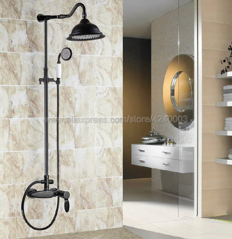 Black Oil Rubbed Brass Wall Mounted 8 Shower Head Shower Rainfall Faucet Set with Handheld Shower Mixer Taps Krs722
