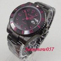 2019 40mm pvd bliger relógio masculino mostrador preto rosa marcas vermelhas safira cerâmica bezel miyota movimento automático relógio de pulso 162