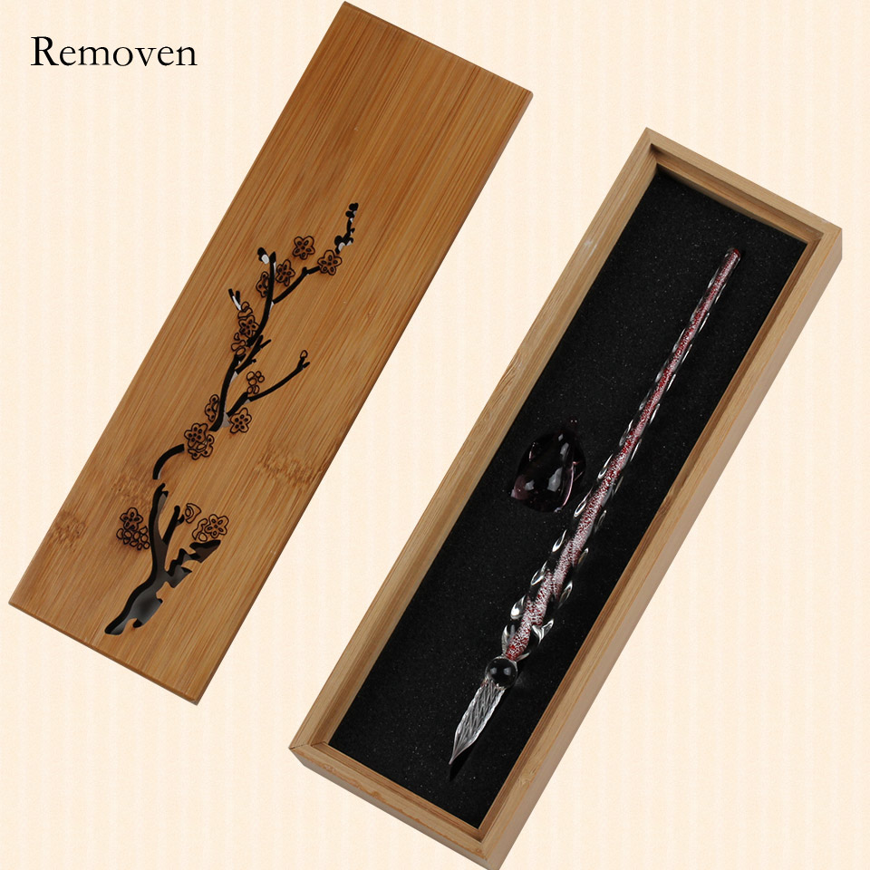 Elegant Crystal Glass Dip Pen Bamboo Box Set Schoolmates Birthday Party Gift For Calligraphy