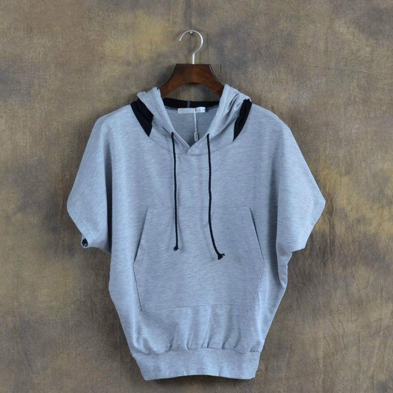 2017 새로운 가을 느슨한 터틀넥 박쥐 짧은 소매 남성 후드 스웨터 유명 브랜드 남성 후드 히피 스웨터
