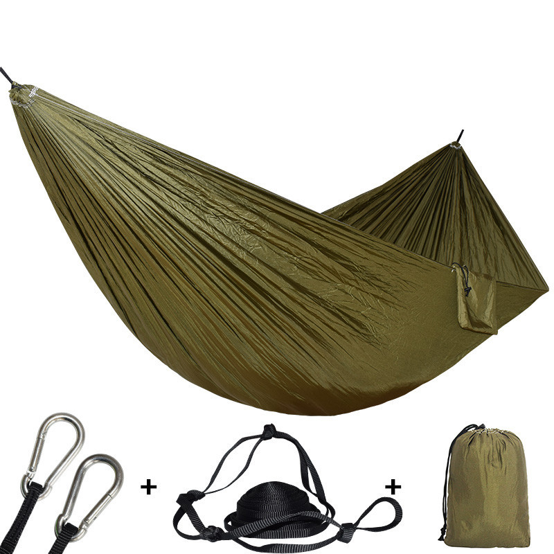 1-2 Personne Camping Hamac Parachute En Plein Air Voyage Randonnée Plage Hamak Lit Suspendu 450 Lbs Peut Être Utilisé À