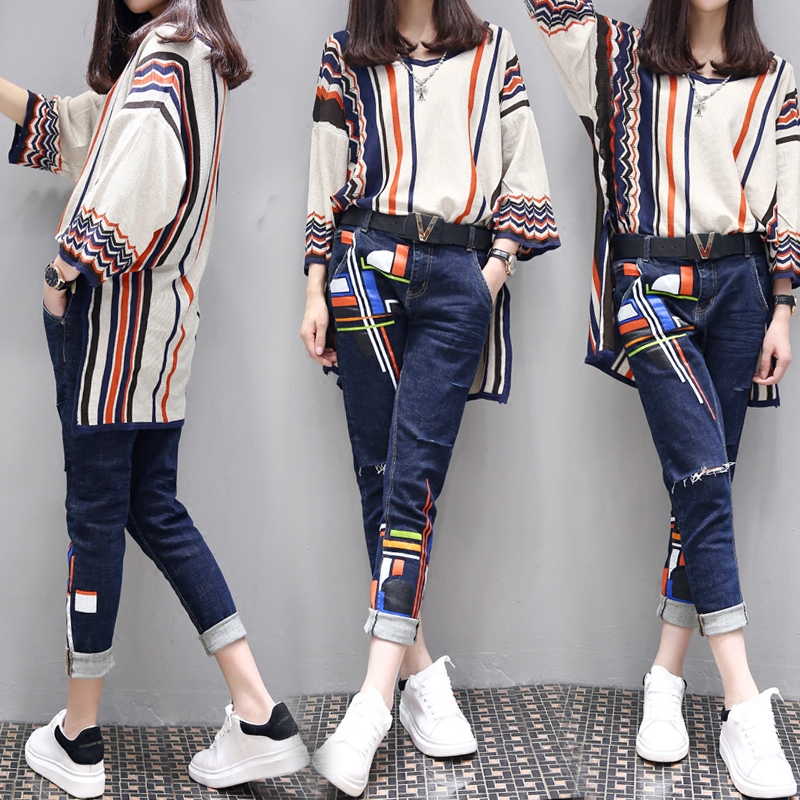 S-6XL Women's Spring Large Size Two-piece 2020 New Fashion Loose High Waist Printing Set Female High-end Shirt + Jeans Two-piece