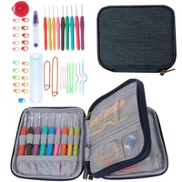 45 Pcs/ Set Crochet Hooks Stitches Knitting Needle Kit with Zipper Organizer Case DIY Crafts Home Supplies 8 DC112