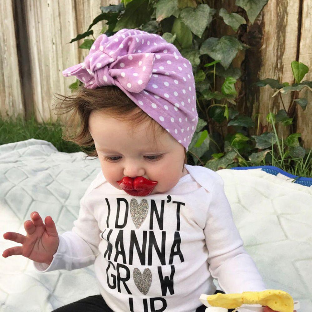 2019 Frühling Herbst Neue Süße Dot Baby Mädchen Hut Mit Bogen Candy Farbe Baby Turban Kappe Für Mädchen Elastische Infant Zubehör 1 Stück