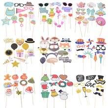 Feliz aniversário foto estande adereços diy flamingo raposa máscara photobooth adereços foto acessórios do chuveiro do bebê evento festa decoração