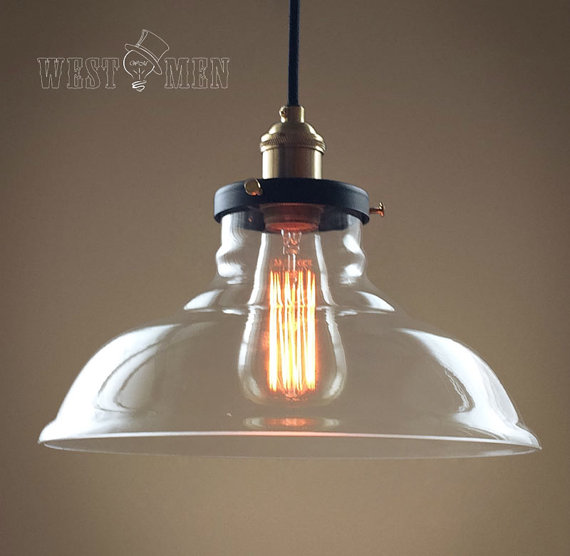 Rustic Rural Clear Gl Bell Shade Pendant Light Retro Copper