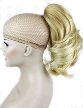 Strong Beauty Synthetic Short Wavy Blonde Black Ponytail Clip in/on Hair Piece Claw Clip Pony Tail For Hair Extensions