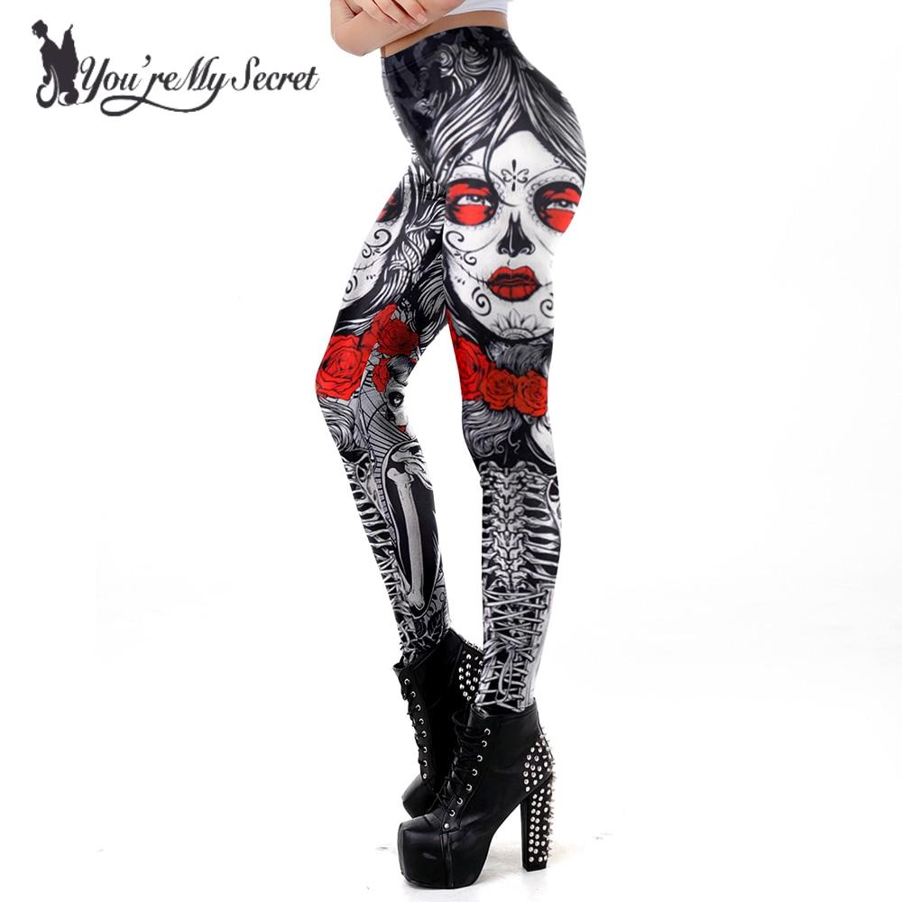 [You're My Secret] 2018 New Leggins Halloween Sugar Skull   Leggings   For Women Girl Rose Print Fantastic Workout Party Ankle Pant