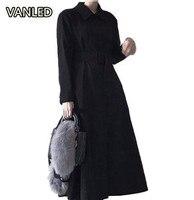 2018 Corea nueva manga larga negro vestido largo turn-Down collar vestido elegante de las mujeres