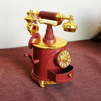 Antique Red Color Jewellry Musical Box Retro Decorations Hand Cranked Music Box For Sale Plastic Crafts