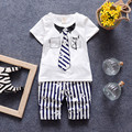 2016 Summer Boys Clothes Toddler Baby Boy Gentelman Suit Shortsleeve T Shirts+Striped Pants Children Boys Casual Outwear