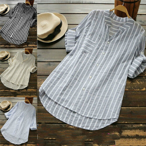 Womens Summer Fashion Striped V Neck Button Confortable Casual Shirts Loose Baggy Tunic Shirts Plus Size