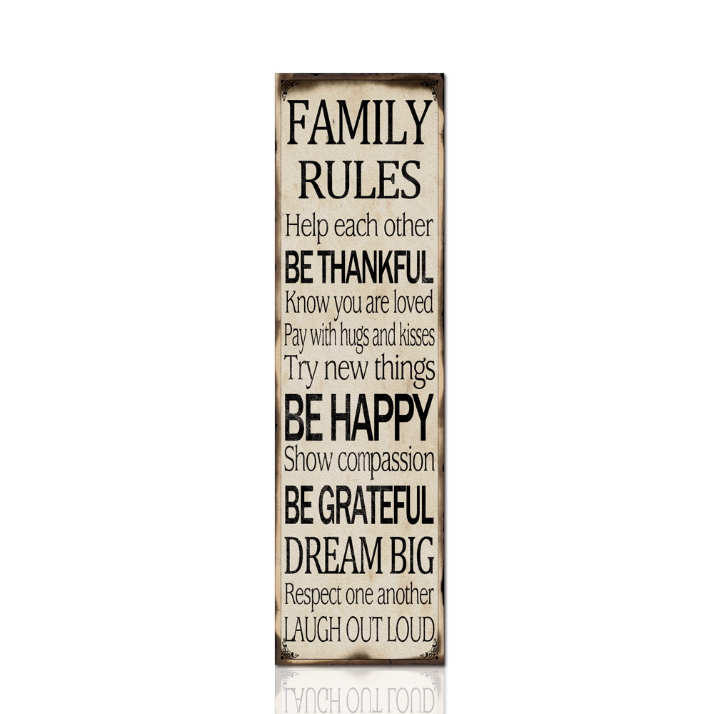Family rules wall art abstract letter poster pictures for living room modern home wall prints canvas painting for christmas in painting calligraphy from