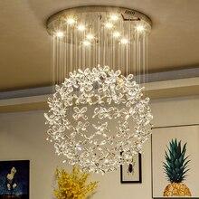 الحديثة الفاخرة مصابيح ليد كريستاليّة معلّقة بالسقف الثريا لغرفة المعيشة تركيبات إضاءة فراشة كبيرة تصميم المنزل مصابيح من الكريستال